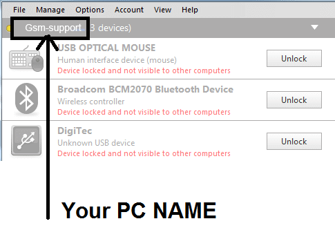 check flexihub pc name